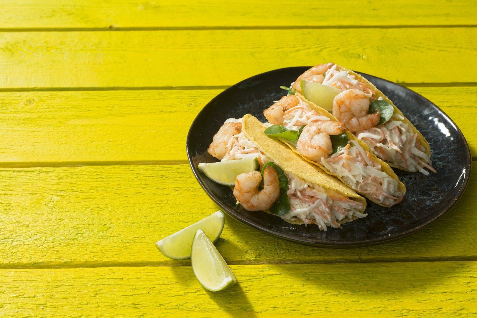Taco gamba met coleslaw